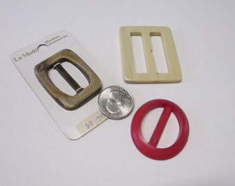 Vintage Plastic belt buckles Red, Cream, or Brown