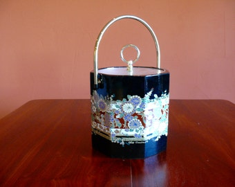 Oleg Cassini Chinoiserie Ice Bucket, Octagon Vinyl Ice Bucket, Mid Century Designer Barware