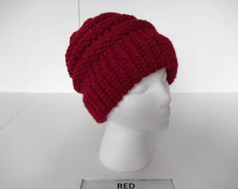 Loom knit Red Slouch Hat