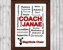 Personalized Cheerleading Gifts, Cheerleading, Cheer Coach Gift, Cheer Gifts, Cheerleading Decor, Cheer Print, Cheerleading Poster