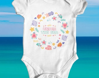 Under The Sea baby bodysuit | cute baby clothes | baby shower gift | newborn baby clothes | holiday baby bodysuit | sea life baby bodysuit