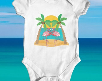 Flamingos baby bodysuit   cute baby clothes   baby shower gift   funny baby bodysuit   newborn baby clothes   tropical baby bodysuit