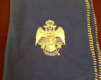 Vintage Blue Fleece Masonic Double Eagle Blanket/Throw......FREE SHIPPING