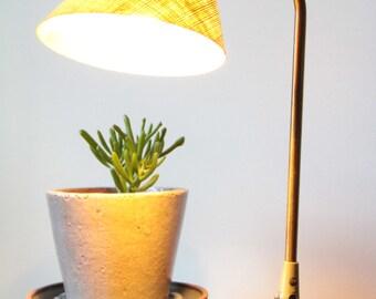 Vintage Mid Century Modern Brass Fiberglass Cone Desk Lamp By Prescolite