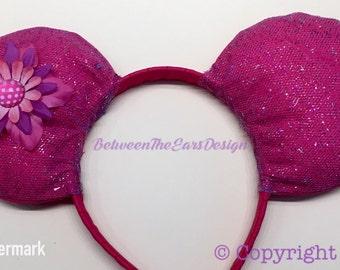Mouse Ears: Hot Pink Ears//Shimmer//Flower