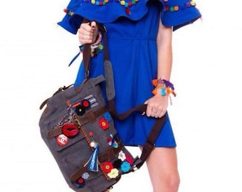 Pompon boho dress Royal blue
