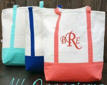 Monogram handbags.Canvas beach totes.Personalized bridesmaids gifts.Canvas totes.Monogram beach bags.Cute market bag, gifts for her.