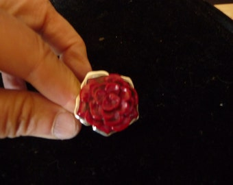 sterling silver ring - pink coral - jewelry Native American