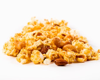 Gourmet caramel popcorn with almonds and cashews, you can't eat just a little!