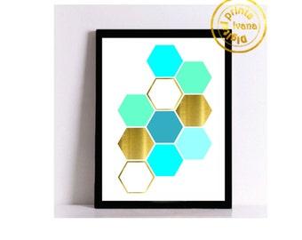 Printable art Digital Prints modern gold blue wall art printable art, printable prints