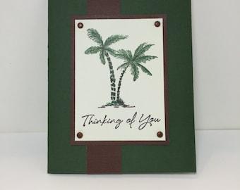 Thinking of You Card - Ocean Theme - Palm Tree - Beach Card - Ocean Card - Sympathy Card - Get Well Card -Handmade