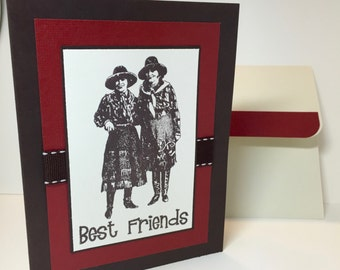 Cowgirl Note Card - Best Friends - Vintage Cowgirl - Handmade