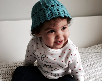 Cute Baby Crochet Hat/ Turquoise