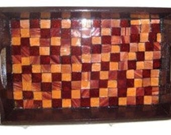 Checkered Decorative Serving and Trinket Tray