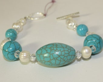 Turquoise and fresh water pearl bracelet