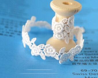 "20 yard 1.4cm 0.55"" wide ivory rose embroidery lace trim trims ribbon L22K181 free ship"