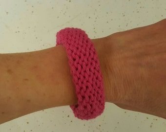 Handmade Boho Chic Knitted Bangle Bracelet