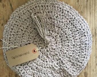Beige Natural Crocheted Beret