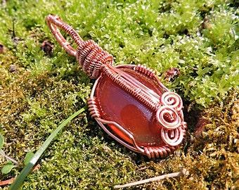 Carnelian Cabochon and Antitarnish Copper Wire Wrap Pendant