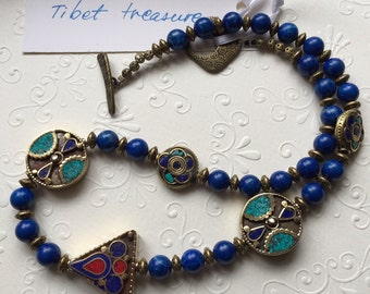 """Lapis beads and brass findings ooak necklace, """"Tibet treasure"""""""