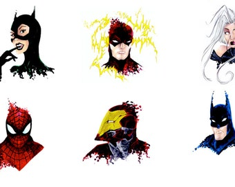 Postcards * superheroes * SpiderMan Batman Ironman... *.