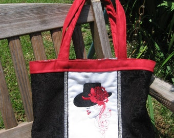 RED ROSE LADY Embroidered Tote Purse
