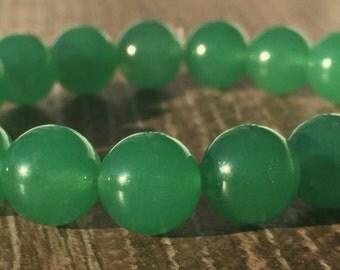 SALE  10mm Natural Green Jade Bead Bracelet, Men's Bracelet, Women's Bracelet, Gifts, Yoga Gemstone Bracelet, Healing Bracelet Yoga Bracelet