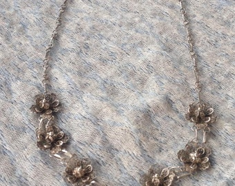 Vintage Antique Art Nouveau Sterling Silver Filigree Flower Necklace