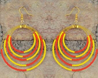 Handmade Yellow and Red Beaded Hoop Earrings