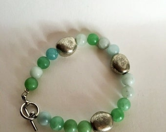 50% DISCOUNT Green Stone Beads with Silver Rounds