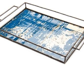 Upcycling tray blue