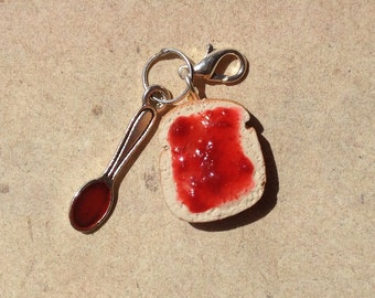 Charm toast with jam and spoon