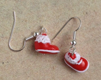 Earrings Santa Claus boots red