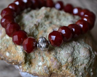 Deep Red Glass and Sterling Silver Beaded Stretch Yoga Bracelet