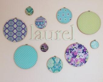 Embroidery Hoop Wall Art, Nursery Decor, Purple Nursery, Purple and Green Nursery, Baby Girl, Fabric Hoop Wall Hanging