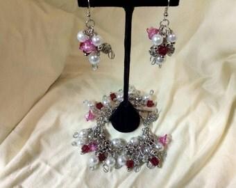Beaded Cluster Charm Bracelet/Earring Set