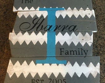 "Chevron acrylic painted wood sign 32""x24"""