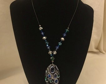 Oval Multicolored Glass Charm Necklace