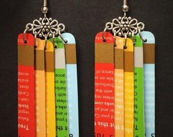 Upcycled Card Earrings - Rainbow