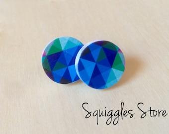 Hypoallergenic Stud Earrings with Titanium Posts - Round Blue Geometric Print - Sensitive Ears