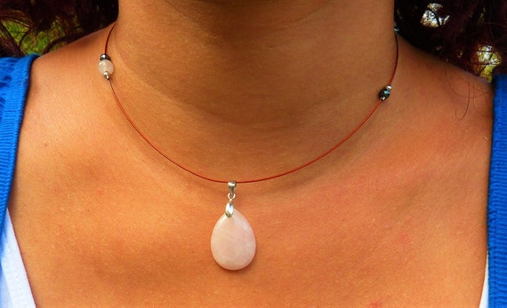 Rose quartz - cable and 925 Silver necklace