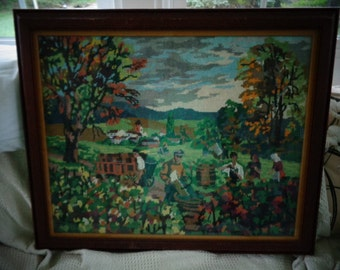 "Vintage Nedlepoint,  Framed Under Glass,  27"" x 22""  Beautiful"