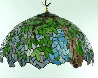 Vintage Wisteria Stained Glass Lampshade