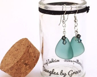 Aqua Triangles with Gray Blue Swarovski Crystal Earrings
