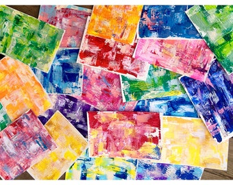 Hand Painted Cards (5 pack), Abstract Acrylic, Gloss Varnish, 4 x 6 & 5 x 7 inches,