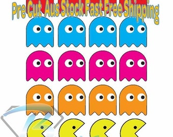 Pacman Die Cut Rice Paper Toppers 20 qty x 40mm