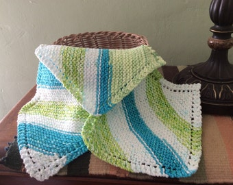Set of 3 Knit Cotton Dishcloths in turquoise, lime and white