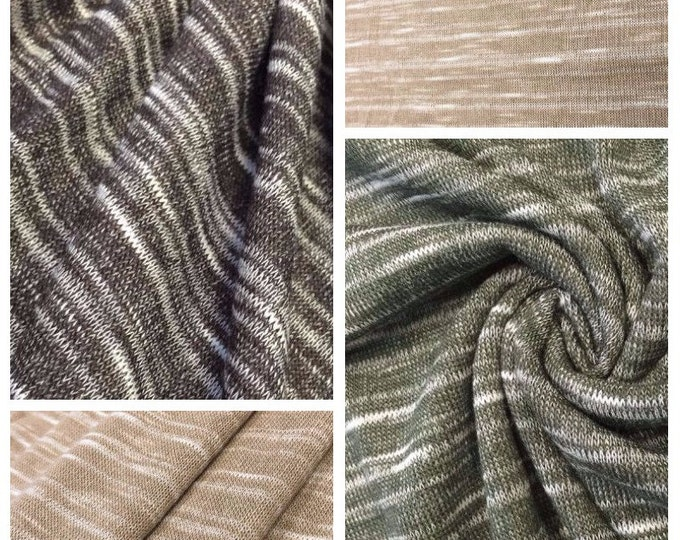 Poly Cotton Slub Jersey Knit Fabric By the Yard (Wholesale Price Available By the Bolt) USA Made Premium Quality - 1 Yard 10005