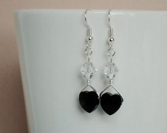 Black Swarovski Crystal Heart Beaded Silver Wrapped Earrings