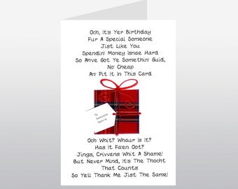Scottish Birthday Card Poem Parcel WWBI62